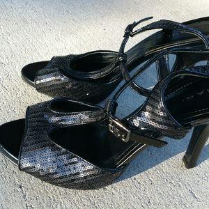 Tahari black sequin 'Amanda' T-Strap heeled sandal